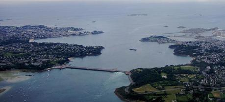 Aerial photograph of the Rance Tidal Power Station in France.