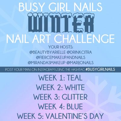 Busy Girl Nails Winter Nail Art Challenge - Teal