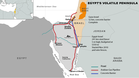 Israel-Sinai pipeline map