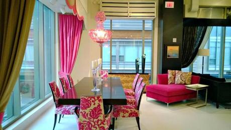 pink dining room table and chairs