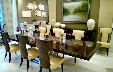 lacquered dining room table and chairs