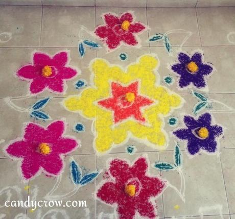 Easy flower Rangoli Designs