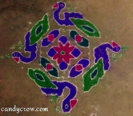 peacock  Rangoli Designs For Pongal, Diwali and Karthikai Deepam