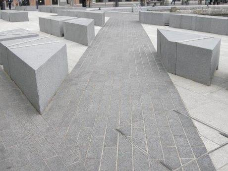 Grand Canal Square, Dublin, Ireland - Paving Detail with Stone Benches