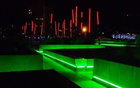 Grand Canal Square, Dublin, Ireland – Lighting Strips to the Base of Planters with Lit Columns in Background - © Martha Schwartz Partners