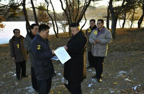 Kim Jong Un at Yonp'ung Lake.  Also in attendance are KWP Propaganda and Agitation Senior Deputy Director Ri Jae Il (1), KWP Finance and Accounting Deputy Director Ma Won Chun (2), KWP Organization Guidance Department Deputy Director Hwang Pyong So (3) and KWP Organization Guidance Department Deputy Director Pak Thae Song (Photo: Rodong Sinmun).