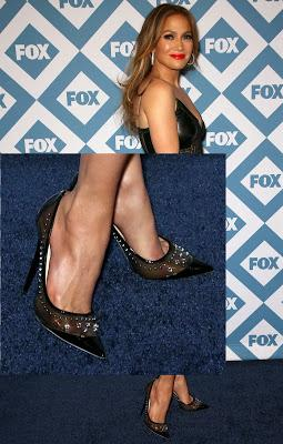 Shoe of the Day | JLO Rocks Jimmy Choo Sparkler Point-Toe Studded Pumps at Fox All-Star Party