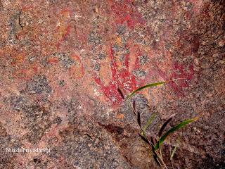Rock paintings dating back thousands of years ago have been found on the hill in Ranchi city, India.