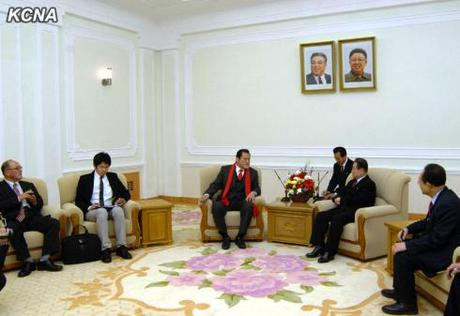 A delegation from Japan led by Antonio Inoki meets with KWP Secretary and Director Kim Yong Il on 15 January 2013.  Kim Yong Il also serves as an advisor to the DPRK-Japan Friendship Association (Photo: KCNA).