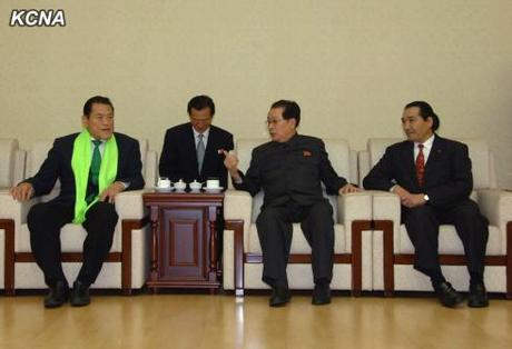 Jang Song Taek (C) at his last observed appearance on 6 November 2013 meeting with a Japanese sports delegation in Pyongyang including Antonio Inoki (L) (Photo: KCNA).