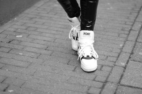 white pony high top sneakers