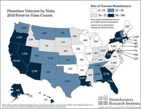 homeless vets by states