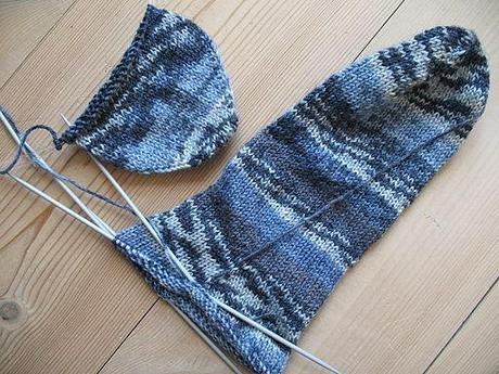 Blue socks, knitting in progress