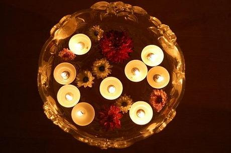 Floating candles on Diwali day