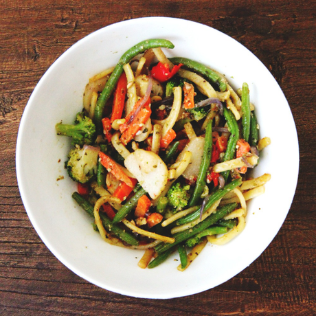 Linguine with Vegetables & Pesto