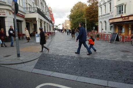 New Road, Brighton, Shared Space - Transition of Carriageway to Shared Space