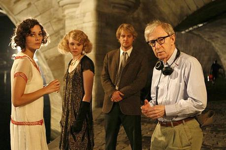 Woody Allen with the cast