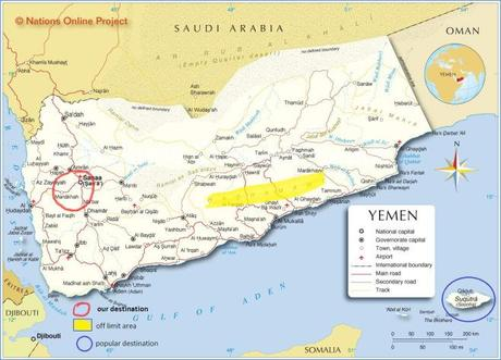 Yemen map and our destination