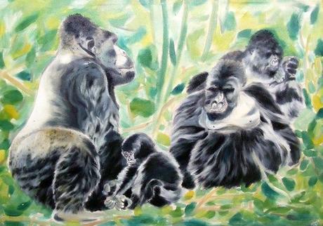 Kwita Izina 2013 painting of gorillas Rwanda. gorilla naming ceremony