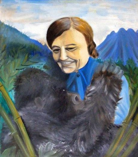Dian Fossey painting with gorilla Rwanda