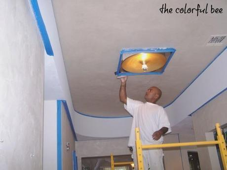 metallic plaster on walls and ceiling