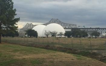 Domes outside Baton Rouge, La., where wood pellets are stored before being shipped to European biomass power plants. Photo: Peter Moskowitz/Al Jazeera America