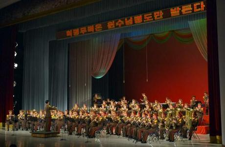 The KPA Military Band performs for Kim Jong Un and senior party and KPA officials (Photo: Rodong Sinmun).
