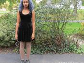 Goth-Inspired Outfit with Blue Hair
