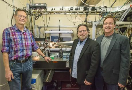 From left, Christer Jansson, John Tainer, and Steve Yannone at the SYBILS beamline at Berkeley Lab's Advanced Light Source. They're among a team of scientists working to make liquid transportation fuel from methane.