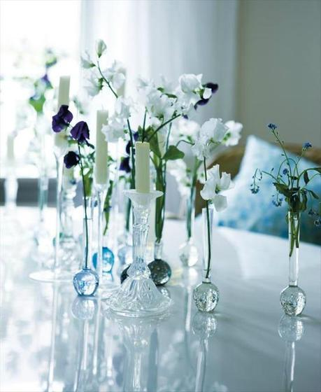 clear blue vases