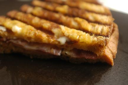 The panini is crispy on the outside and chewy and creamy with the melted cheese in the middle.