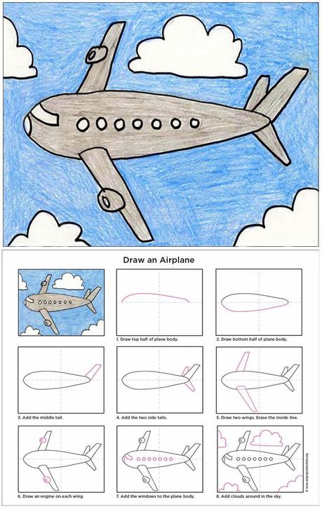 how to draw an air plane