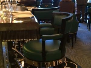 Green Leather Chairs at the bar of Kasper's Seafood Bar and Grill at The Savoy, London