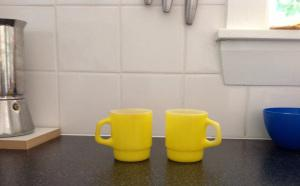 Yellow fire king coffee mug cup retro vintage thrifted op shop finds