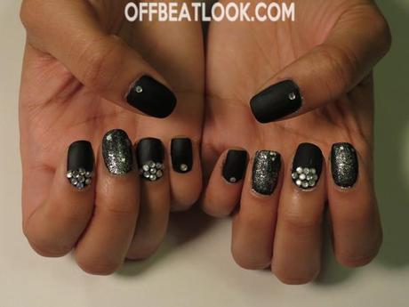 Matte Black And Silver Nails Matte Black Nail Design