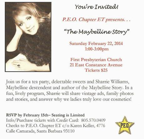 Sharrie Williams will be Presenting 100 Years of Maybelline, February 22 in Santa Barbara California