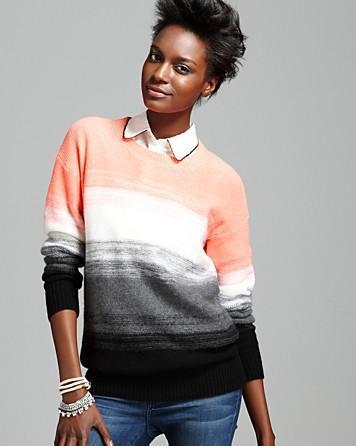 Bloomingdales Aqua Cashmere Sweater – Ombre Stripe Pullover