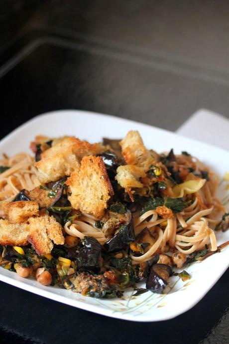 Kale, Eggplant, and Chickpea Pasta