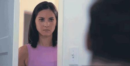 Reaction GIF: angry, I'm watching you, nope, Olivia Munn