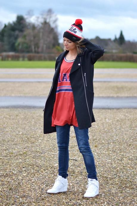 mr gugu miss go mafia basketball jersey top oversized dress nike snow authentic beanie asos cocoon biker coat nike dunk sky high white mesh inspiration sportive outfit post fashion blogger turn it inside out belgium