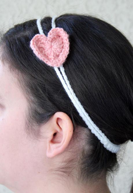 Valentines Crochet Pattern Double Strand Headband With Heart