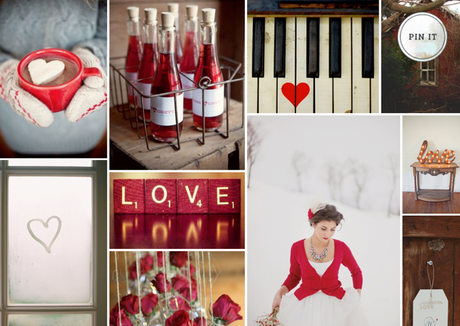 inspiration board, Valentine's Day wedding
