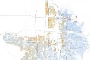 Salt Lake City as depicted on Dustin Cable's map, drawn on data from the 2010 U.S. Census (showing one dot per person, color-coded by race; blue = white; orange = Latino). photo credit: Dustin Cable