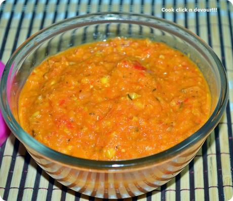 Roasted vegetable sauce{For pizza/pasta/dip}