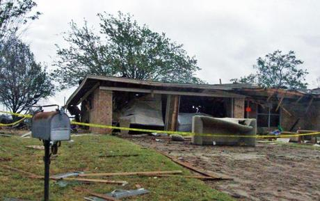A Home destroyed by a nearby fertilizer plant explosion - the sort of disaster that can cause a family to experience temporary homelessness.  Photo courtesy State Farm via Flickr.