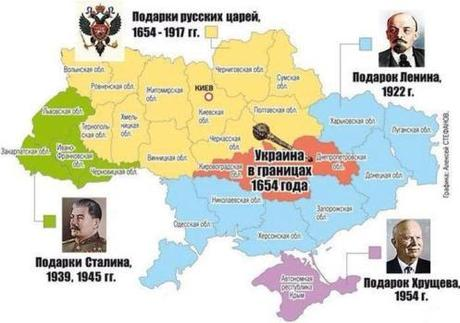 This map shows the original Ukrainian borders and then additions later.