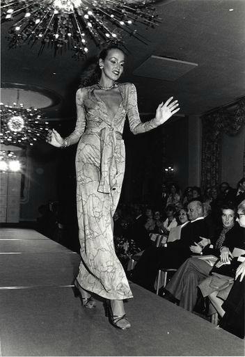 Diane von Furstenberg's wrap dress modeled by Jerry Hall in 1975