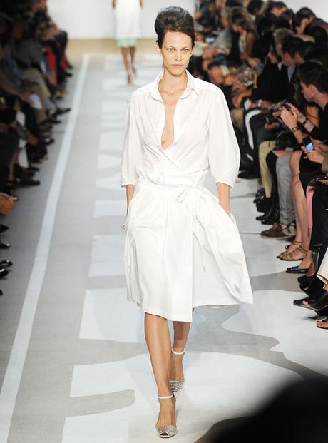 whitewashed cotton wrap dress by DVF