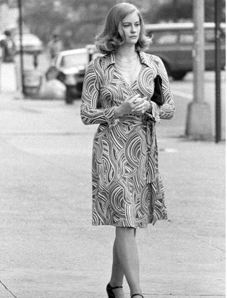 sybil shepard wearing a DVF wrap dress in Taxi Driver