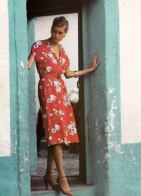 Vogue 1980 a model wears a DVF wrap dress